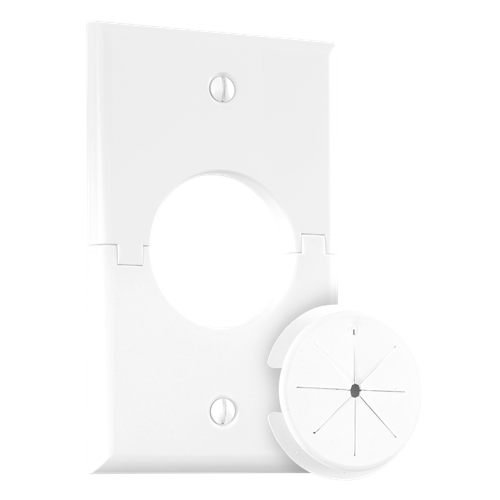 Single Gang Splitport™ with Grommet, White