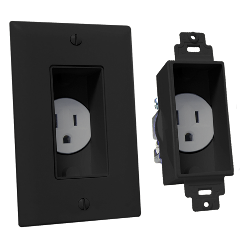 Single Gang Décor Recessed Receptacle, Black