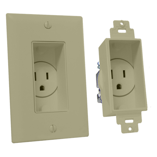 Single Gang Décor Recessed Receptacle, Ivory