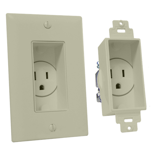 Single Gang Décor Recessed Receptacle, Light Almond
