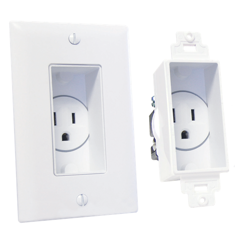 Single Gang Décor Recessed Receptacle, White