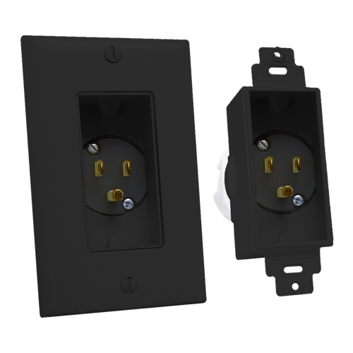 Single Gang Décor Recessed Power Inlet, Black