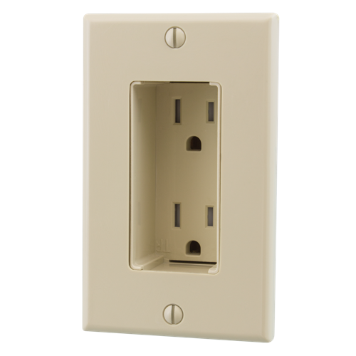 Tamper Resistant Discreet Decor Recessed Outlet, Ivory