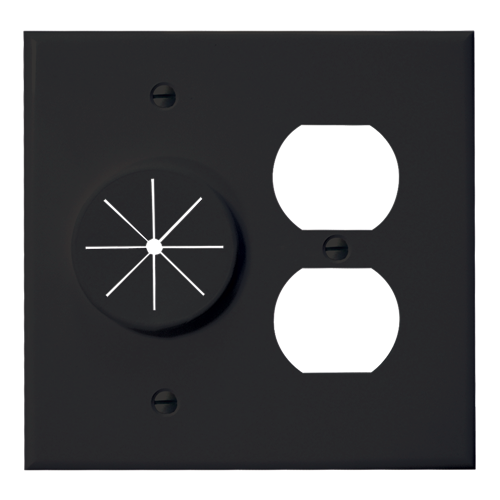 Duplex Receptacle Plate with Grommet, Black