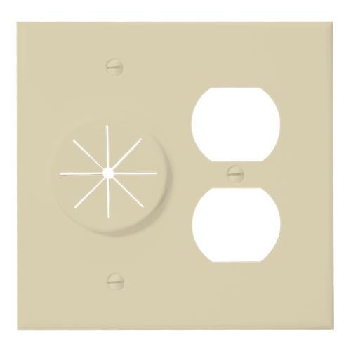 Duplex Receptacle Plate with Grommet, Ivory