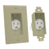 Single Gang Décor Recessed Power Inlet, Ivory