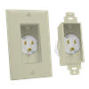 Single Gang Décor Recessed Power Inlet, Light Almond