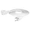 6ft Power Cord, NEMA 3 Prong, Male to Female End, 14G, White