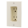 Tamper Resistant Discreet Decor Recessed Outlet, Almond