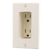 Tamper Resistant Discreet Decor Recessed Outlet, Light Almond